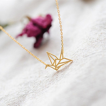 Cute Origami Crane Bird Pendant Necklace