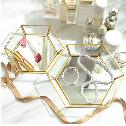 Gold Storage Glass Tray
