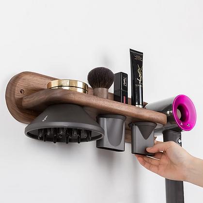 Wooden Hair Dryer Holder Organiser