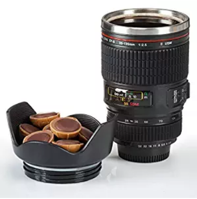 Double Walled Stainless Steel Coffee Cup Camera Lens Mug Lens