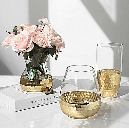 Luxury Glass Gold/ Rose Gold Mug Vase