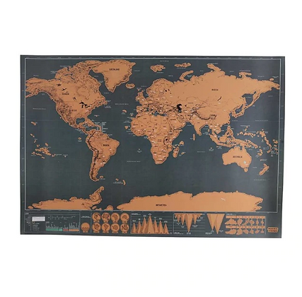 Deluxe Black Scratch Off Travel World Map