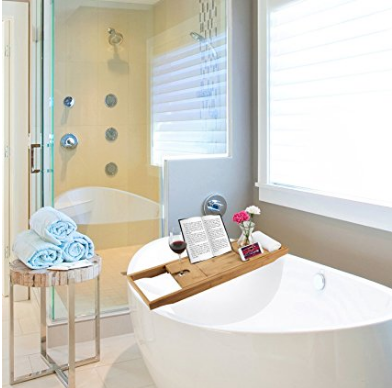 Bamboo Bathroom Bath Tub Tray Table with Extended Book Tablet Holder