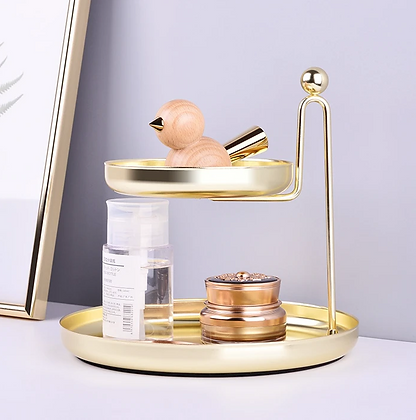 Two-Tier Gold Desk Stand Tray