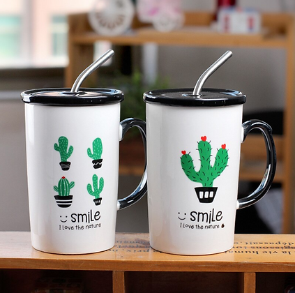 Ceramic Cactus Cup With Straw