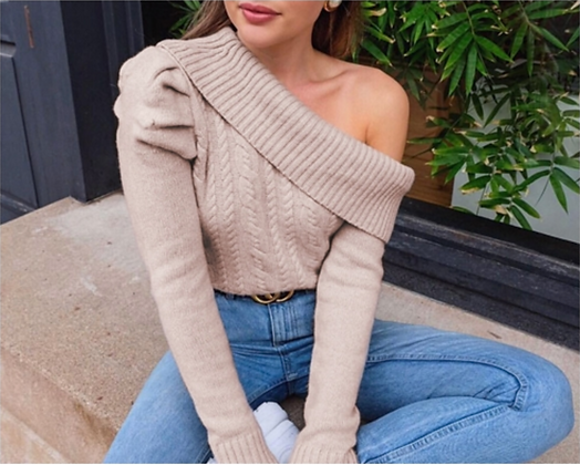 One Shoulder Knitted Sweater