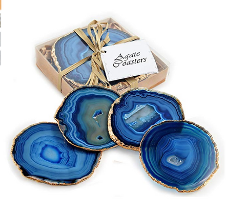 Set of 4 24k Gold Gilt-Edged Agate Coasters