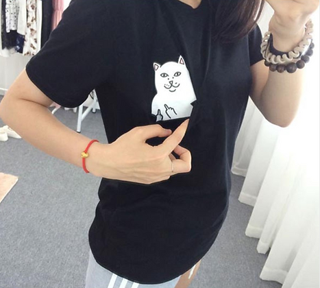 Cotton T-Shirt Cat Pocket