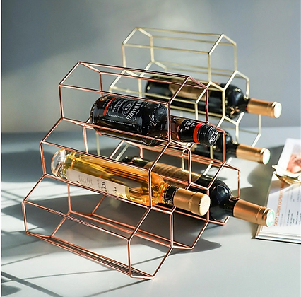 Geometric Wine Rack Gold/ Rose Gold