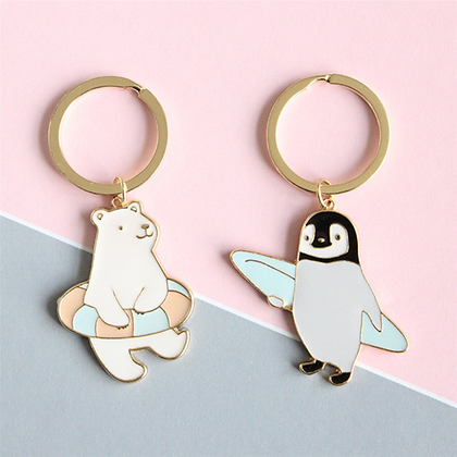 Cute Cartoon Animal Penguin/ Polar Bear Key Ring/ Keychain