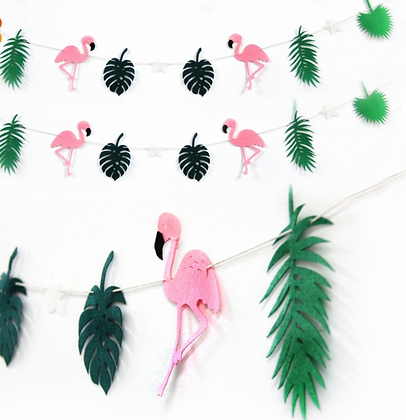 Party Fabric Flamingo Banner Garland