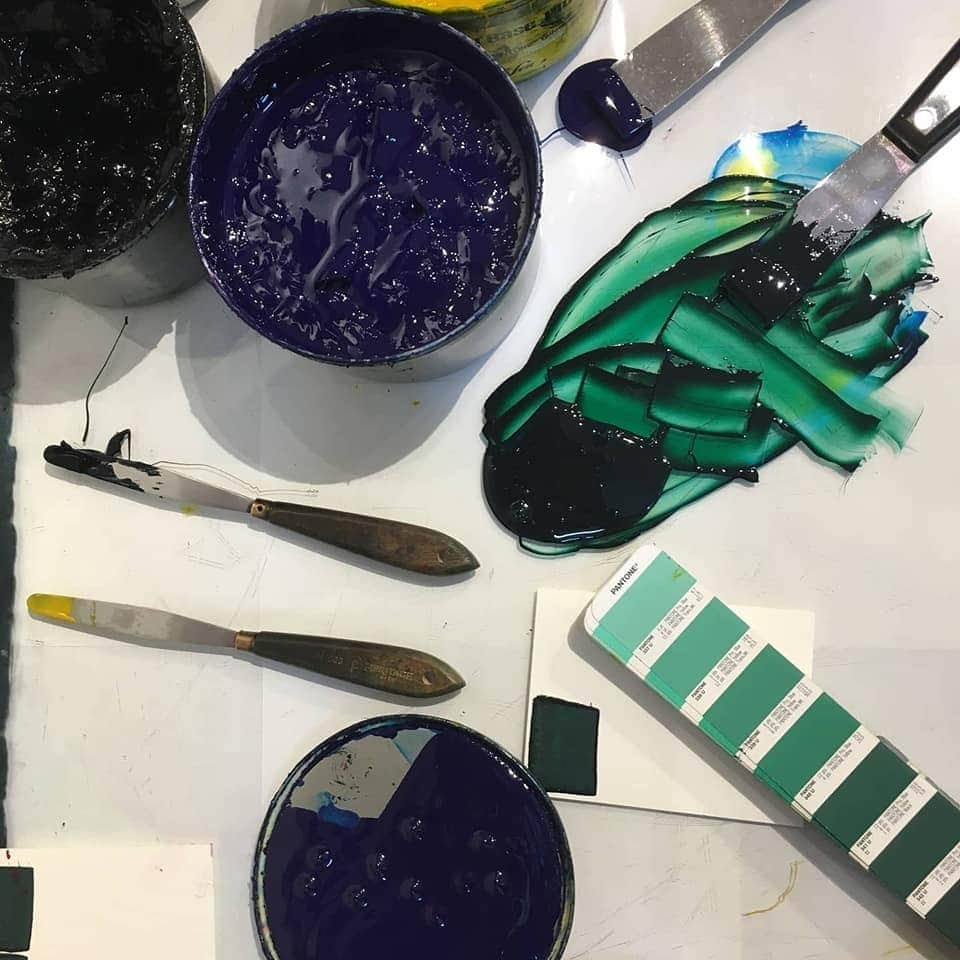 Ink mixture for our notebook cover.