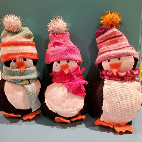 Upcycled Sock Penguins