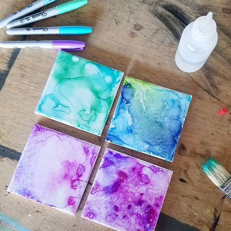 Sharpie and Alcohol Galaxy Coasters