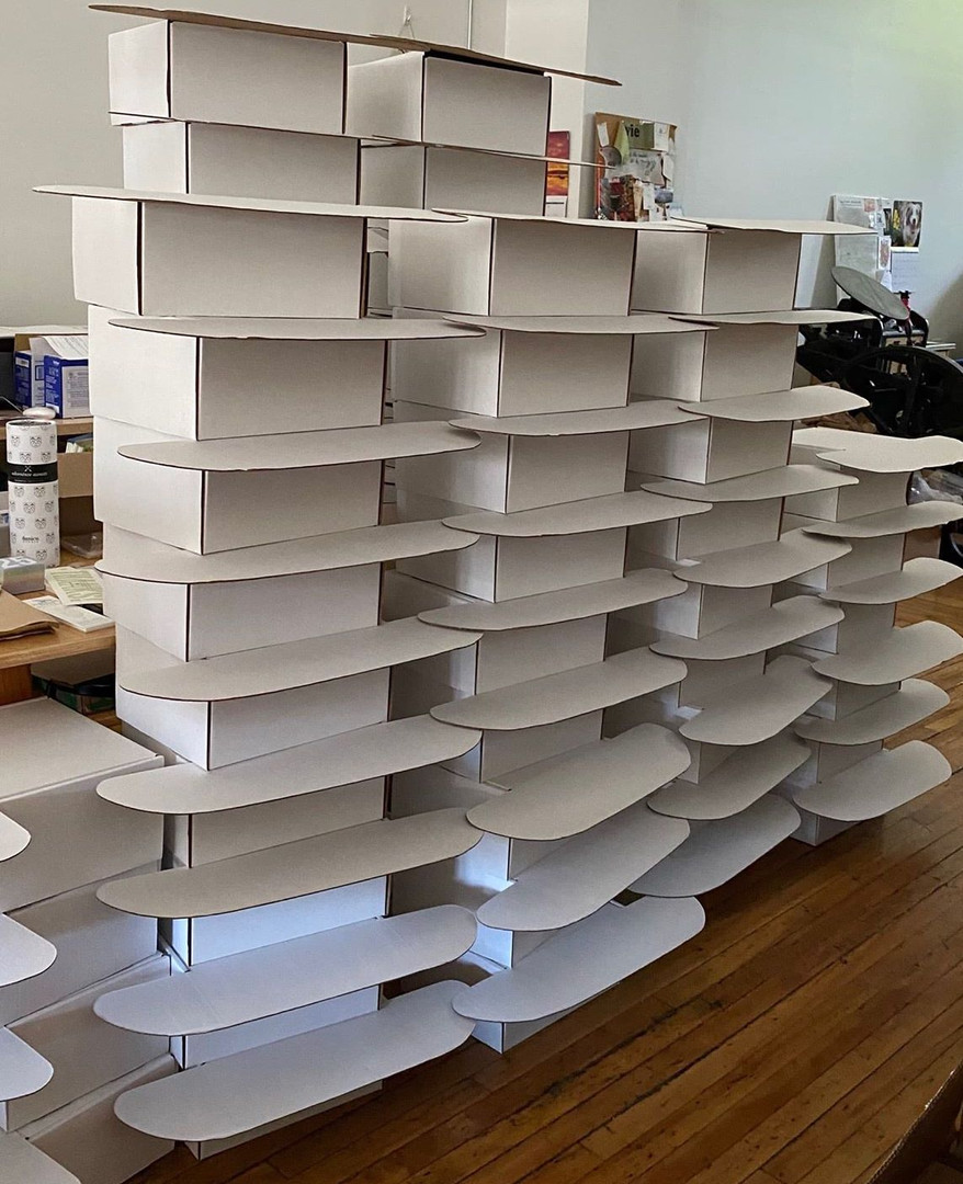 Boxes upon boxes getting ready for packin' at Albertine Press.