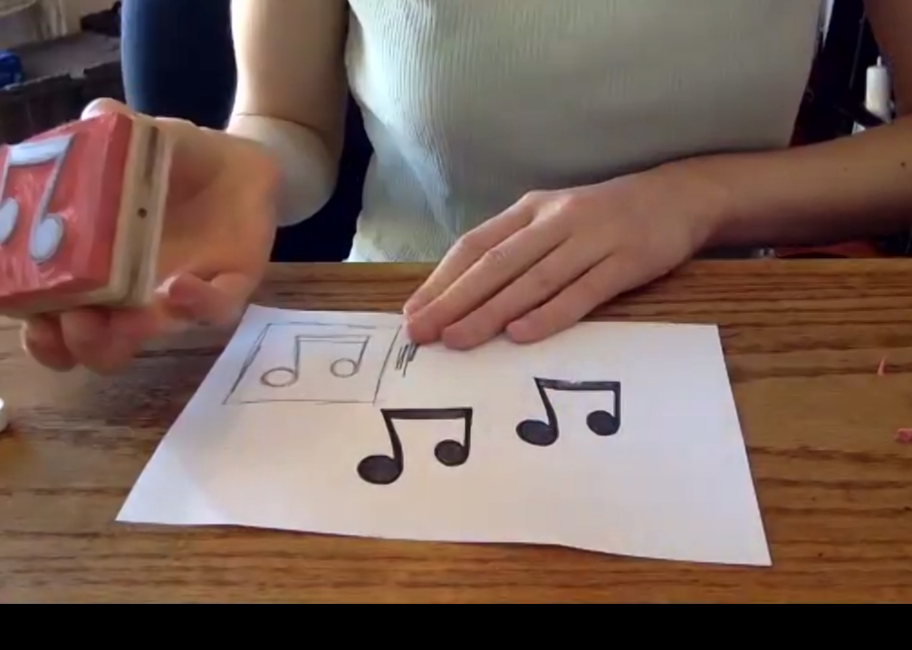 Screencap of Kit Collins during her incredible live stamp making tuitorial.