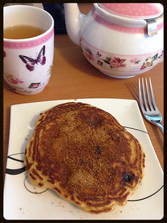 Blueberry pancakes with maca and chia seeds
