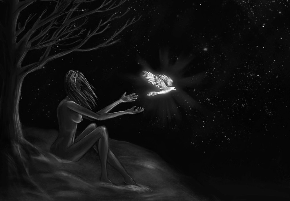 a girl sitting under a tree in the night, releasing a dove
