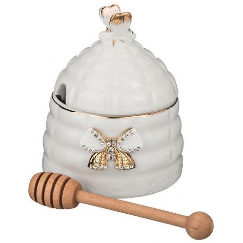 Банка для мёда+палочка деревянная высота=12 см. 55-2521