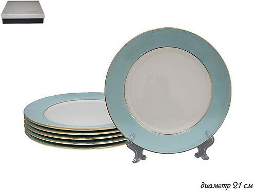 Набор из 6 тарелок 20,5см.BLUEв под.уп. Фарфор