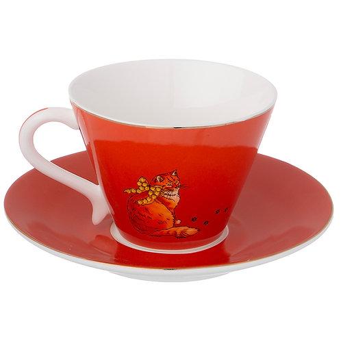 """Чайный набор """"Кошка""""  на 1пер. 2пр. 200мл охра. 754-164"""