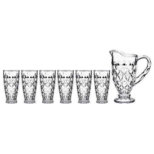 "Набор для сока/воды ""muza"" 7пр.: кувшин 1500 мл + 6 стаканов 300 мл. 195-151"