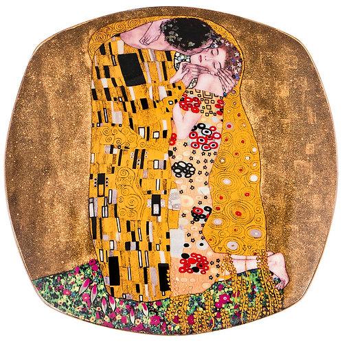 """Тарелка квадратная """"Поцелуй"""" (г. Климт) 26 см золотой, Lefard"""