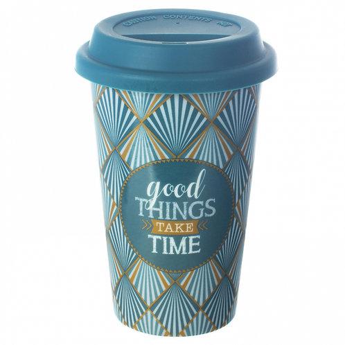 "Кружка 0.35л с крышкой (зеленая) ""Travel mug"" EL-R0129/TM01"