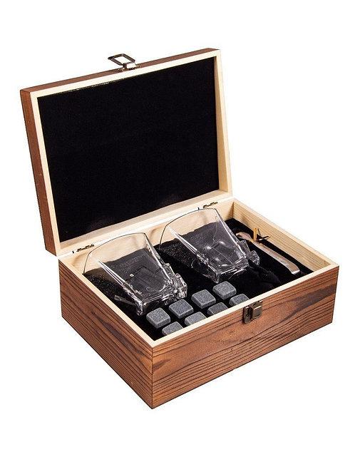 Подарочный набор для виски VIRON на 2 персоны в дерев. коробке 19*19*11см