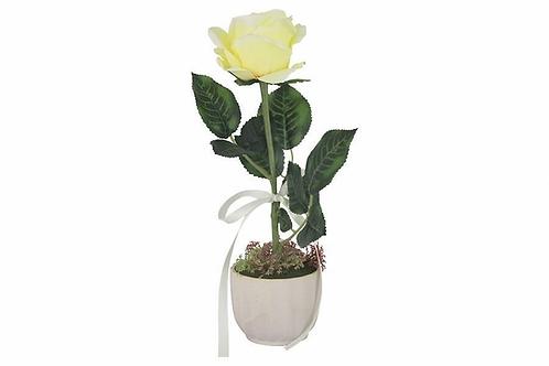 Роза жёлтая в керамической вазе Dream Garden 10*10*35см DG-PF7108-Y