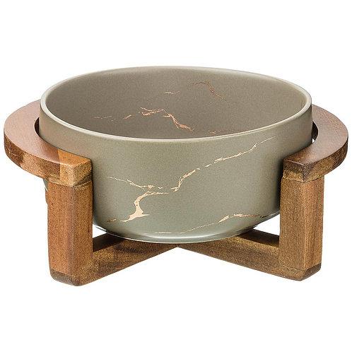 """Салатник на деревянной подставке коллекция """"золотой мрамор""""412-144"""