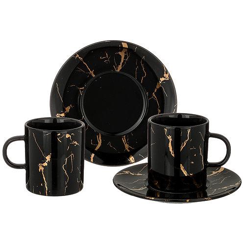 """Чайный набор на 2пер. 4 пр.""""fantasy"""" 220мл, черный 40-326"""