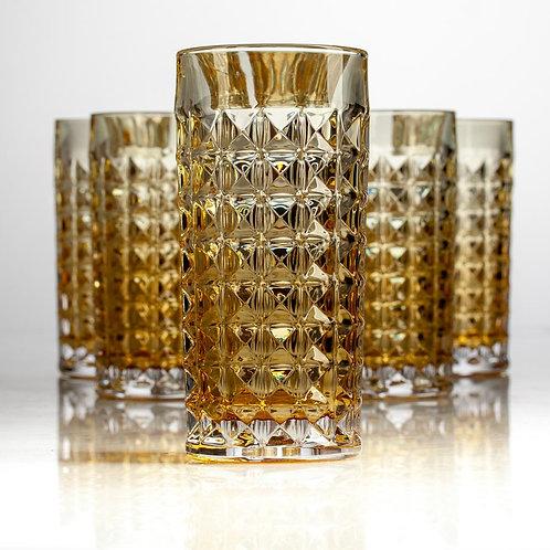 Набор стаканов для воды Диаманд 260мл 6шт амбер. 2KE38/0/72U84/260
