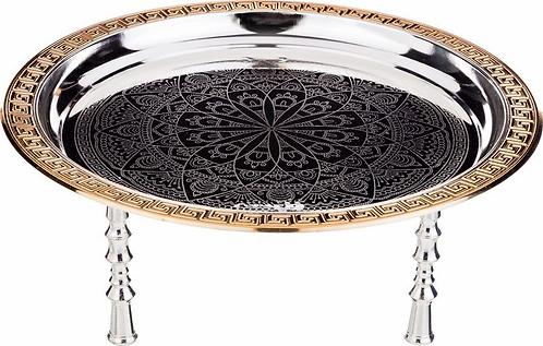 Поднос сервировочный Agness,  серебристый, диаметр 39,5 см920-046