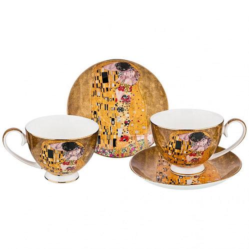 """Чайный набор на 2 персоны """"поцелуй"""" (г. Климт) 4 пр. 250 мл. 104-510"""