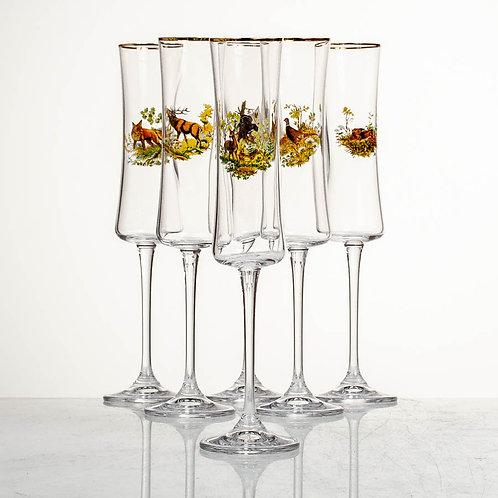Набор бокалов для шампанского Марко БУТЕО Охота 24135 150мл 6шт