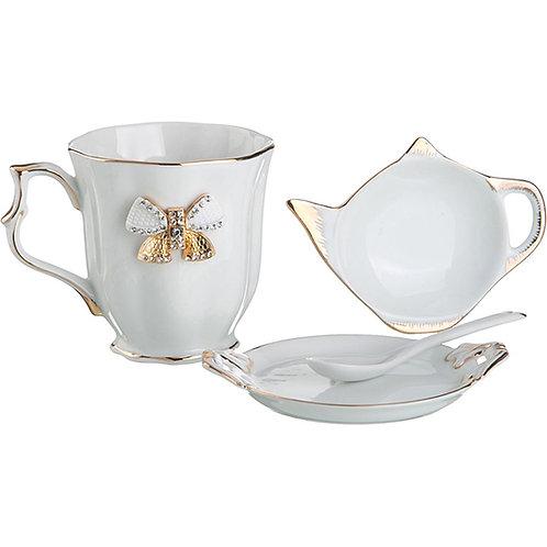 "Чайный набор ""Venezia""  на 1пер. 4пр. 300мл охра. 55-2819"