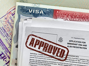 Approved stamp on  visa entry applicatio