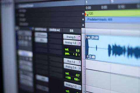 Recording studio audio computer editing