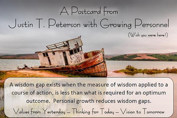 Justin T. Peterson postcard Wisdom Gap c