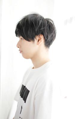 黒髪マッシュ×パーマ