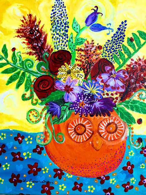 Whimsical Flowers with Owl Vase