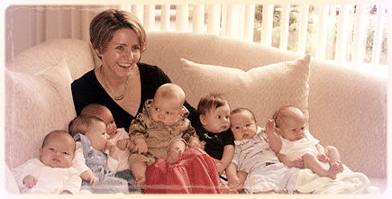 Liz with her first birth class's babies