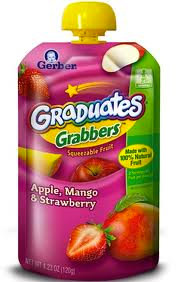 Gerber Pouches - apple, mango, strawberry