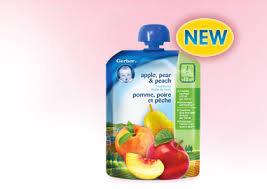 Gerber Pouches - apple, pear, peach