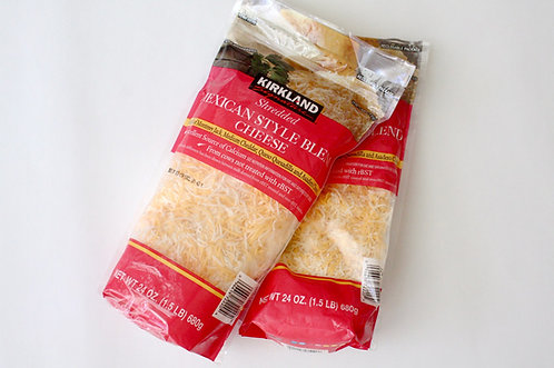 Grated Cheddar n White Cheese Mix -2 Bags/1.5lbs each (3lbs)