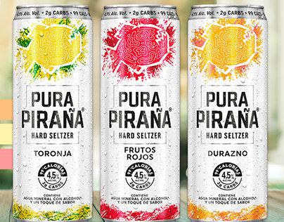 Pura Piraña -Hard Seltzer -Grapefruit,Berry, Peach -12pk
