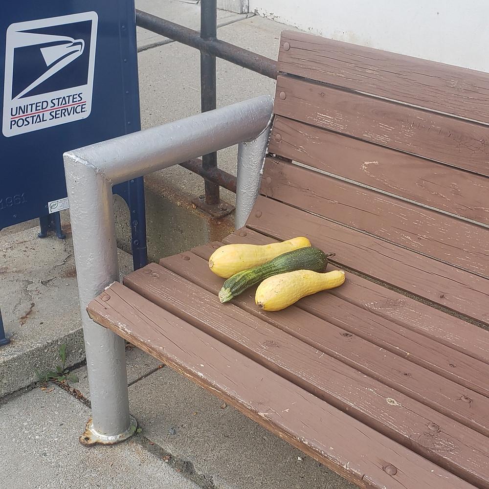 produce on a bench