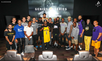 Denzel Washington hangs with The Los Angeles Lakers #GeniusSeries