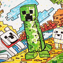 A drawing of a Creeper and other Minecraft characters for the Minecraft Fun-Schooling Theme